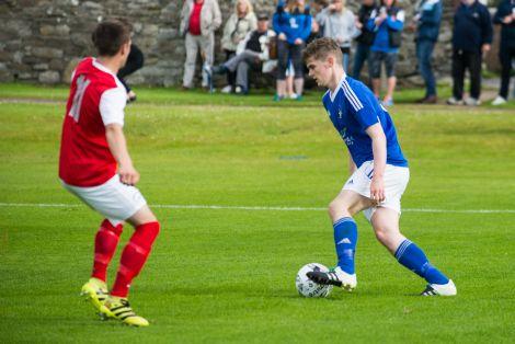 Sam Maver scored the first of Shetland's two goals on Saturday. Photo: Steven Johnson.