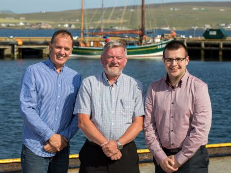 New Lerwick Port Authority chairman Ronnie Gair (centre) with deputy chairman John Henderson (left) and new board member Steven Hutton.