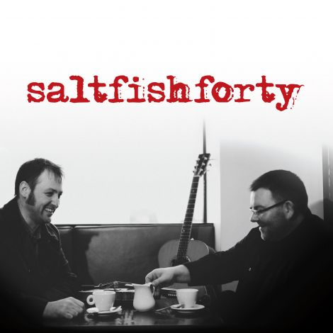 Saltfishforty duo Brian Cromarty and Douglas Montgomery on the cover of their new album Bere.