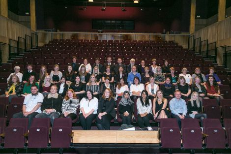 Further education students with college staff on Friday. Photo: Garry Sandison