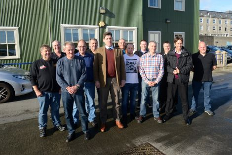 Lord Duncan with fishermen and fishermen's representatives in Lerwick on Friday.