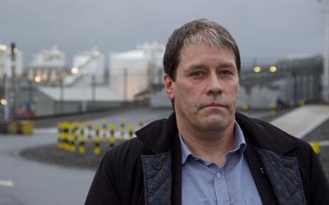 Unite regional officer John Boland outside Shetland Gas Plant on Wednesday. Photo: Hans J Marter/Shetland News