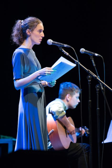 Poet Roseanne Watt supported by Stuart Thomson on guitar. Photos: Steven Johnson