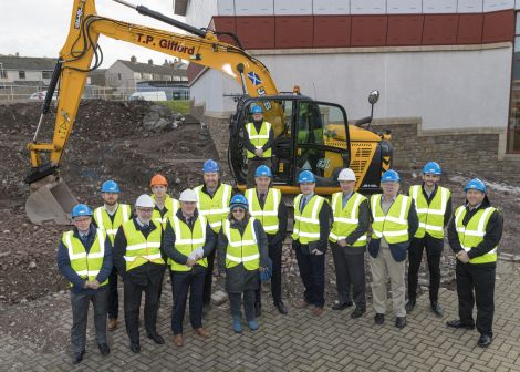 Checking out the site on Wednesday was Graham Kerr (J Duguid, QS), David Thomson (Trustee), Peter Johnson (PJP Architects), Karl Bolt (DITT Site Agent), James Johnston (General Manager, SRT), John Tait (Director, DITT), Sheila Tulloch (Shetland LEADER Programme), Bryan Leask (Chairman, SRT), Andrew Lyall (Head of Assets and Business Support, SRT), Leigh Smith (Technical Services Manager, SRT), George Anderson (Mott McDonald), Neville Martin (Vice Chairman, SRT), Trevor Smith (Project Manager, Anderson High School, SIC), Robert Geddes (CLC Manager). Photo: Paul Riddell