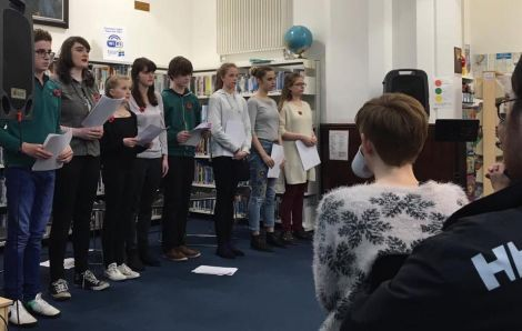 Shetland Youth Theatre gave two performances based on poems by Jack Peterson. Photo: Courtesy Shetland Library