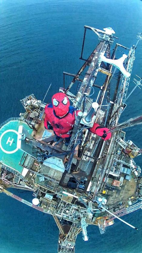 Onhausz climbed to the top of the disused oil rig in September. Photo: Balazs Onhausz