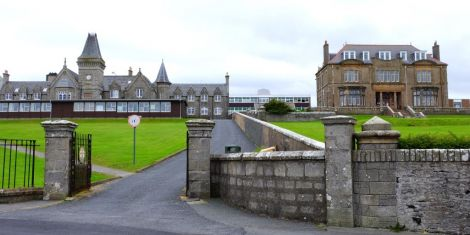 The Knab site could retain the former science block along with three listed buildings, with other buildings to be demolished to make way for housing. Photo courtesy of Shetland Islands Council.
