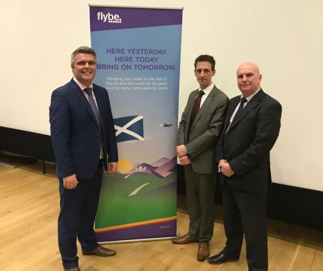 Flybe's interim chief commercial officer Ronny Matheson, Eastern Airways' commercial head Mat Herzberg and Flybe's head of operations David Paterson. Photo: Shetland News/Neil Riddell.