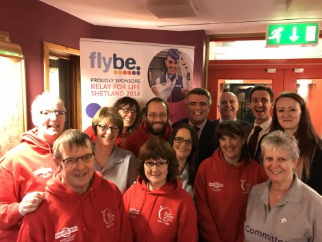 Representatives of Flybe and Eastern Airways pictured with Shetland Relay for Life committee members.