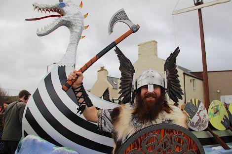 Scalloway guizer jarl Ragnar Sutrike Lothbrok aka Leslie Setrice enjoying his big day. Photo: Hans J Marter/Shetland News