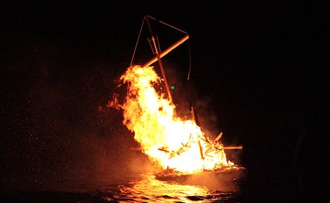 The galley being consumed by the flames at Port Arthur on Friday evening
