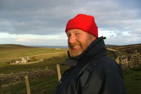 Jon Castle visiting Bressay in June 2005. Photo: Jonathan Wills