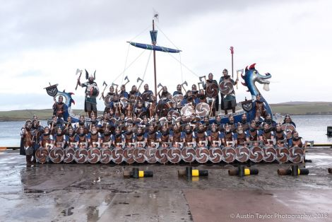 The 2018 Lerwick Up Helly Aa jarl squad.