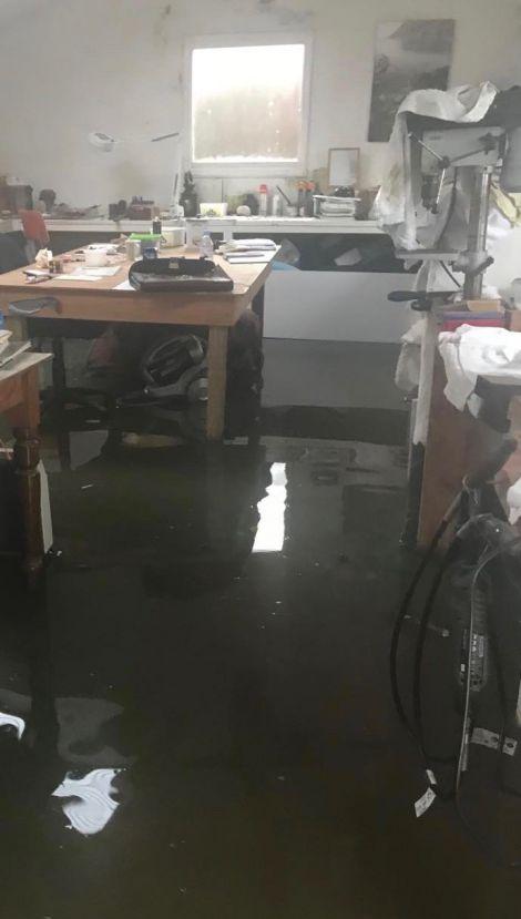The damage inside the workshop.