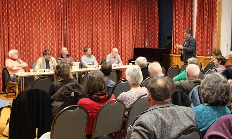 Lerwick North councillor Steven Leask making a point at Saturday night's Althing debate. Photo: Hans J Marter/Shetland News