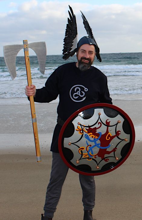 Norwick guizer jarl Aaron Priest depicting Grimur Kamben, a 9th century Viking who is believed to have stopped off at Norwick beach on his way to Faroe. Photo: Desley Ritch