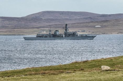 The HMS Westminster passing through Yell Sound on Saturday. Photo: Gary Buchan