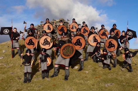 The jarl squad line up for a photo at Burravoe. Photo: Garry Sandison