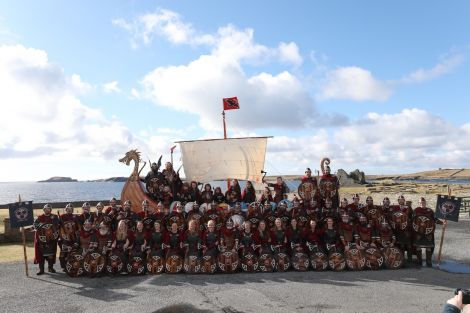 Guizer jarl Ian Bray with the largest SMUHA jarl squad yet. Photo: Garry Sandison