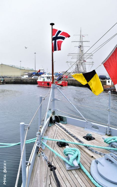 Hitra and Statsraad Lehmkuhl at Scalloway harbour over the weekend. Photo: Mark Berry