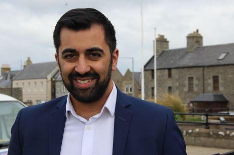 Hamza Yousaf outside Lerwick Town Hall on Friday afternoon. Photo: Hans J Marter/Shetland News