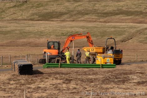 Work is ongoing in Fair Isle on the new electricity scheme. Photo: Austin Taylor