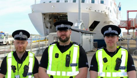 Some of the team visiting Shetland - left to right: detective constable Gary Christie, detective constable Edward Rouse and detective sergeant Craig Dunbar. Photo: Chris Cope/Shetland News