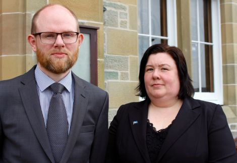 New council leader Steven Coutts and deputy leader Emma MacDonald. Photo: Shetland News/Chris Cope.