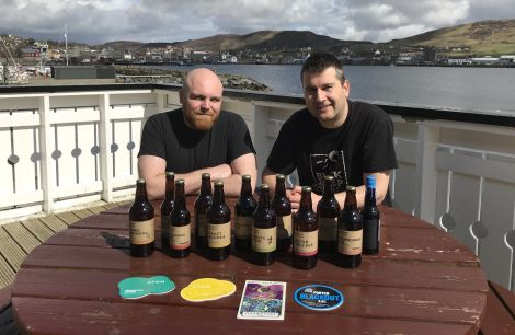 Lewis Grant and Stephen Lamming are organising a beer day at Scalloway Boating Club on Saturday 12 May. Photo: Shetland News/Neil Riddell.