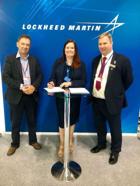 Signing the memorandum of Understanding are (left to right): Scott Hammond, Shetland Space Centre; Maggie Sandison, Shetland Islands Council and Patrick Wood, Lockheed Martin.