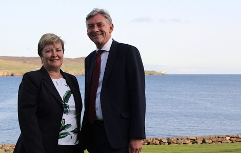 Scottish Labour leader Richard Leonard and Highlands and Islands Labour MSP Rhoda Grant in Lerwick on Monday. Photo: Hans J Marter/Shetland News