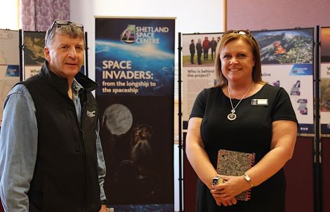Frank Strang and Carol Duncan, Shetland Space Centre project assistant. Photo: Hans J Marter/Shetland News