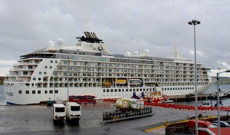 The World at Morrison Dock on Thursday morning. Photo: Chris Cope/Shetland News