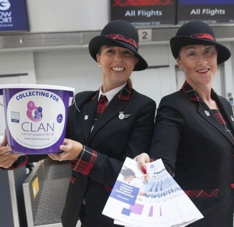 Loganair staff Helen McGrath and Sharon Williams collect for CLAN. Photo: Loganair.